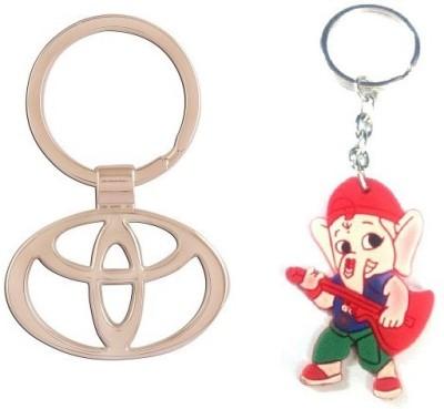 Ezone Full Metal Toyota & Rubber Ganesh Key Chain Key Chain