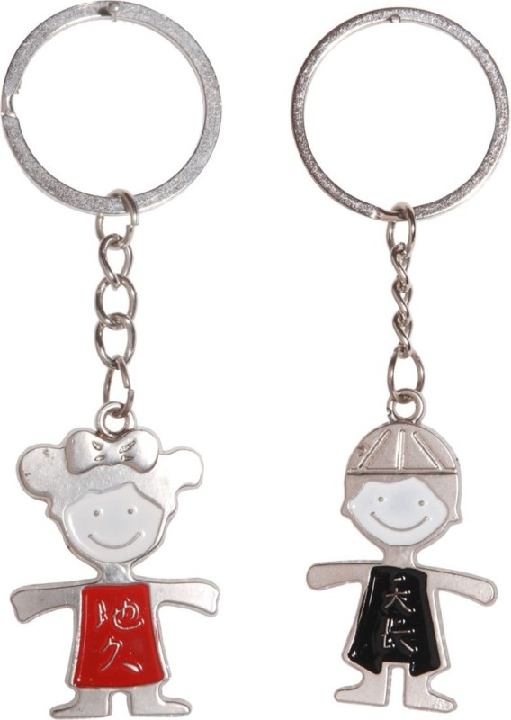 Anishop Cute Valentine Couple Key Chain(Red, Black)