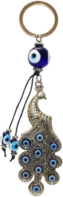 Silver Swan Blue Eye Peacock Key Chain