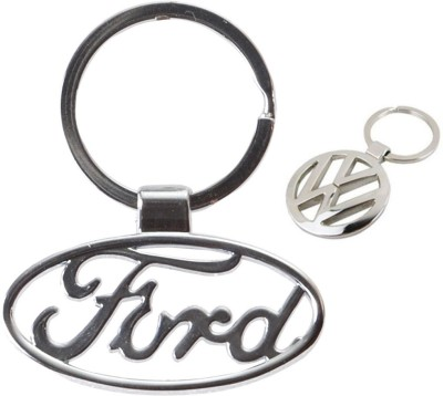 Homeproducts4u Volkswagen & Ford Logo Metal Keychain Pack of 2 Key Chain