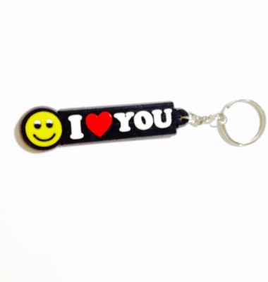 Tech Fashion I Love You Yellow Smiley Red Heart Synthetic Locking Key Chain