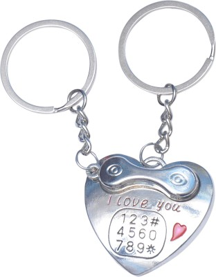 CTW Love You Heart Metal Landline Phone Shape Key Chain