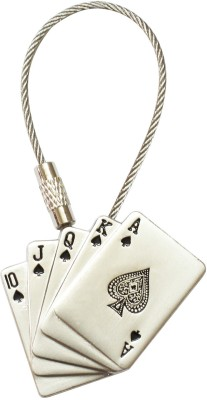 Silver Swan Playing Cards Metal Key Chain