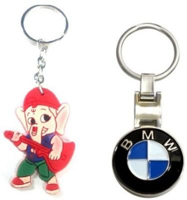 Ezone Imported Bmw Metal Locking & Rubber Ganesh Key Chain Key Chain
