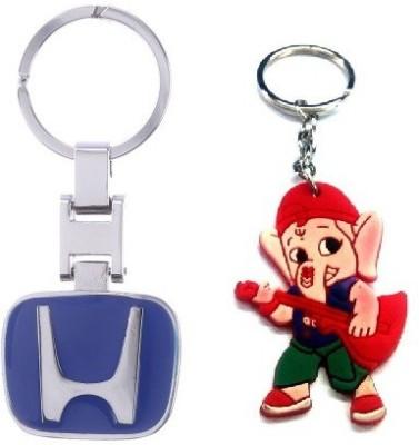 Ezone Blue Honda Imported & Rubber Ganesh Key Chain Key Chain