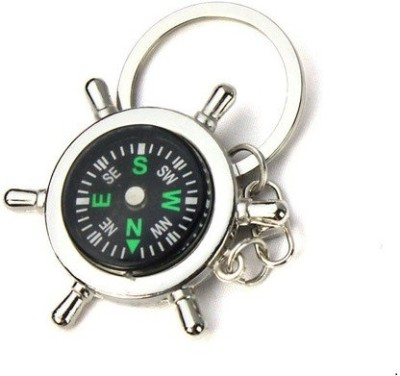 Ezone Ring Stylish Round Compass Key Chain(Silver) Carabiner