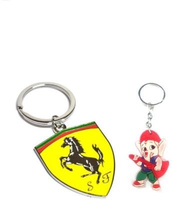 Ezone Ferrari Metal & Rubber Ganesh Key Chain Key Chain