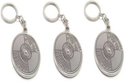 Oyedeal Pack of 3 Compass Date Perpetual with Calendar up-to 50 Years Key Chain(Silver)