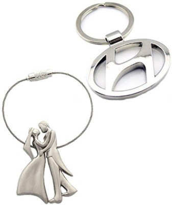 Confident Standing Loving Couples And Hundai Car Logo Key Chain