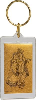 Siri Creations God Radha Krishna with 24kt Gold Foil Key Chain