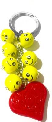Tech Fashion Valentine Gift Yellow Smiley Wooden Balls Red Heart Locking Key Chain