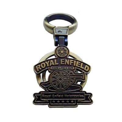 Techpro Metal Golden Color Royal Enfield Motorcycles Locking Key Chain