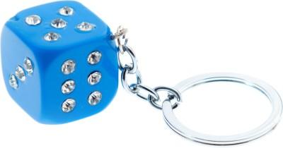 VeeVi Diamond Studded Blue Dice Key Chain Key Chain