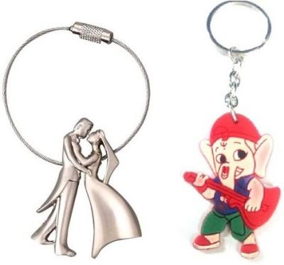 Ezone Bride & Groom Metal & Rubber Ganesh Key Chain Locking Key Chain