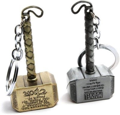 AMR Exclusive Silver And Golden Thor Hammer keychain Key Chain