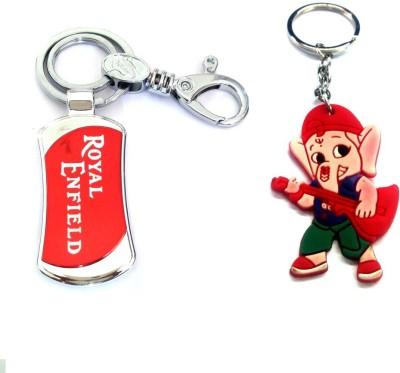 Ezone Important Royal Enfield Metal & Rubber Ganesh Key Chain Locking Key Chain