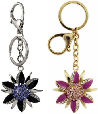 Tootpado Flower (Pack Of 2) - 1o179 - Stylish Stone Metal Crystal Rhinestones Purse Pendant Handbag Charm Locking Key Chain