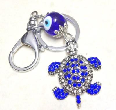 Goodbuy Metallic Keychain with Turtle evil eye protection Locking Key Chain