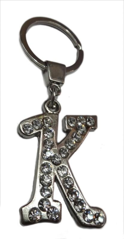 Aditya Traders 'K' Metal Stone Alphabet Key Chain(Silver)