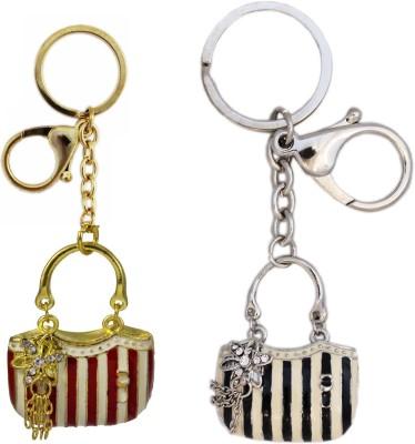 Tootpado Handbag (Pack Of 2) - 1o185 - Stylish Stone Metal Crystal Rhinestones Purse Pendant Handbag Charm Key Chain