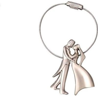 Ezone Bride & Groom Metal Wire Locking Key Chain Carabiner