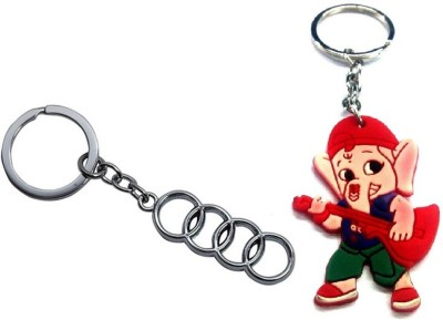 Ezone Stylic Full Metal Audi Metallic Ring With Combo Bal Ganesh Key Chain