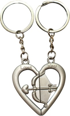 Bainsons Couple Love Arrow & Bow in Heart Shape Key Chain