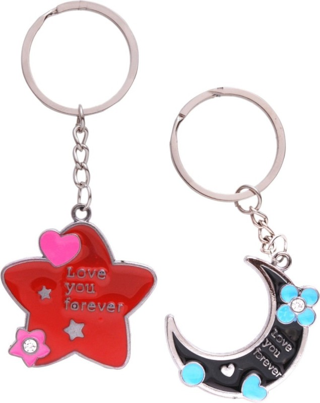 Anishop Valentine Love You Forever Star Moon Key Chain(Red, Black)