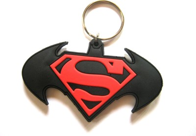 Optimum Deal Cute Batman Vs Superman logo Double Sided Rubber Key Chain