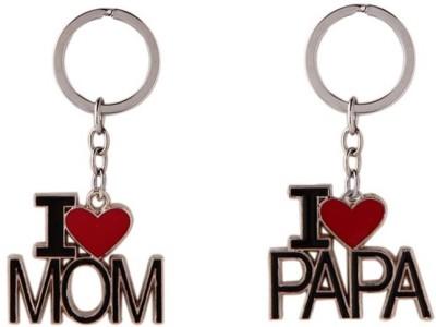Saugat Traders I Love Mom & Papa Combo Key Chain(Black)