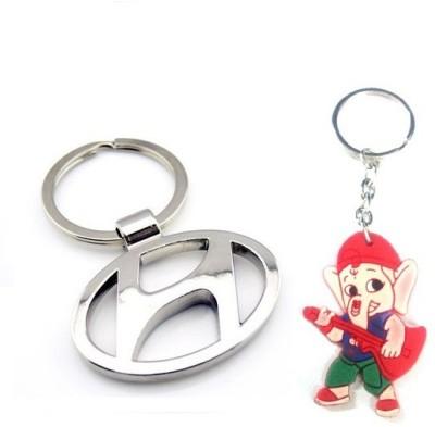Ezone Full Metal Car Hyundai & Rubber Ganesh Key Chain Key Chain