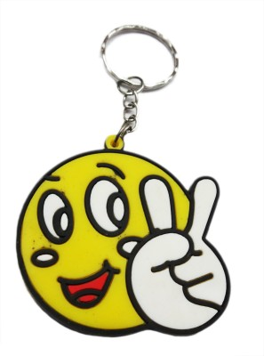 Aditya Traders Double Sided Victory Symbol Smiley Ring Key Chain