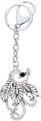 Super Drool Crystal Studded Peacock Locking Key Chain
