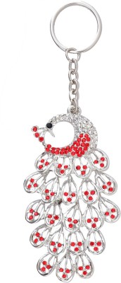 Super Drool Red Studded Peacock Locking Key Chain