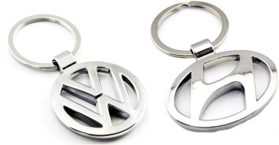 Homeproducts4u Volkswagen And Hyundai Logo Metal Key Chain For Men - Pack Of 2 Key Chain