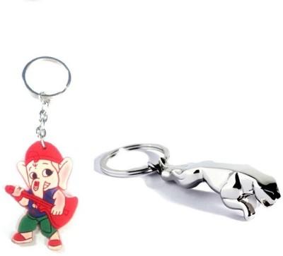 Ezone Bold Jaguar & Rubber Ganesh Key chain Key Chain