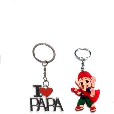 Ezone I Luv Papa & Rubber Ganesh Key Chain Key Chain