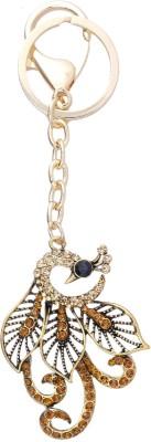Super Drool Gold Crystal Studded Art Peacock Locking Key Chain