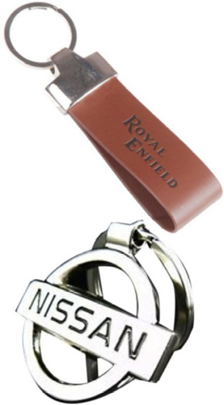 Alexus Royal Enfield Leather And Nissan Key Chain