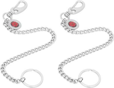 Rashi Traders 2 Red Black Long Chain Locking Locking Key Chain
