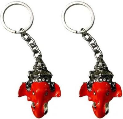 Rashi Traders 2 Ganesh Red Face Key Chain