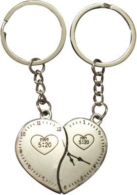Silver Swan Couple Heart Shape Clock Metal Key Chain