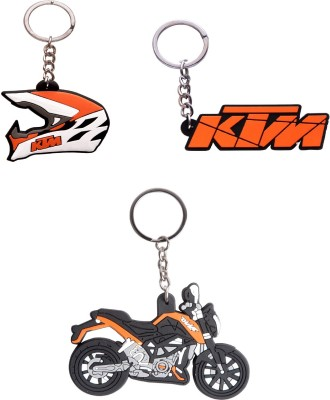 Spotdeal SDL368 SET of 3 KTM LOGO , KTM bike and KTM Helmet key chain Key Chain