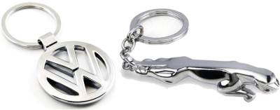 Homeproducts4u Volkswagen and Jaguar Logo Metal Key Chain for Men - Pack of 2 Key Chain