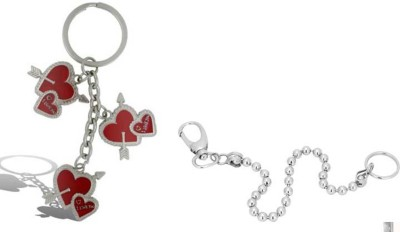 Rashi Traders Arrow 3 Heart + Goli Long Chain Locking Locking Key Chain
