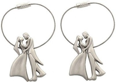 Ezone Bride & Groom Metal Wire Pack of 2 Locking Key Chain