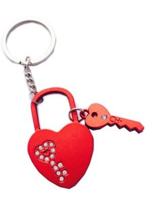Ctw Love Heart Lock Up Couple Valentine Gift Key Chain