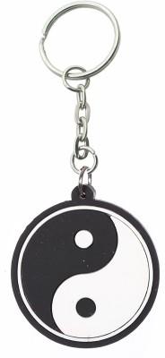 Confident Non Metal Black And White Rubber Logo Key Chain