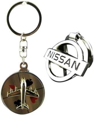 Homeproducts4u Nissan & Aeroplane Full Metal Key Chain(Silver) (Pack of 2)-29 Key Chain