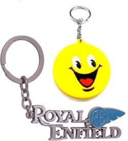 Ezone Silver Metal Royal Enfield with Smiley Carabiner
